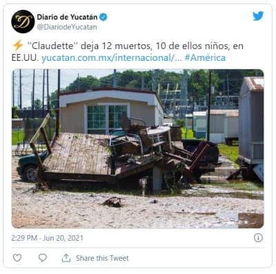 Sube a 12 la cifra de muertos por tormenta tropical Claudette
