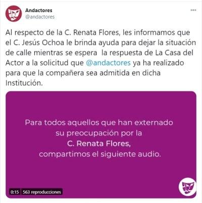 Renata Flores vive calle 1