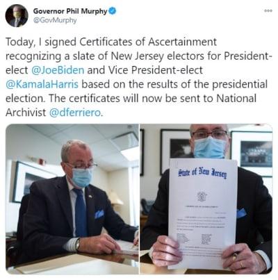 Nueva Jersey certifica Biden, presidente electo, Joe Biden, resultados