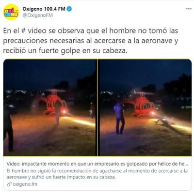 Empresario golpe cabeza hélice 2 helicóptero