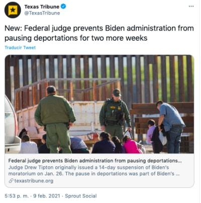 Bloqueo moratoria deportaciones en extendido en Texas