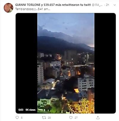 Sismo en Venezuela esta mañana se siente hasta Caracas (VIDEO)