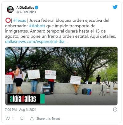Jueza bloquea plan de Texas para detener vehículos que transportan inmigrantes