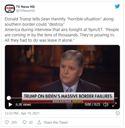Trump asegura que la situación migratoria podría destruir a Estados Unidos