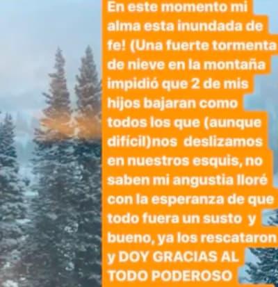 Ana Bárbara hijos tormenta de nieve (IG)