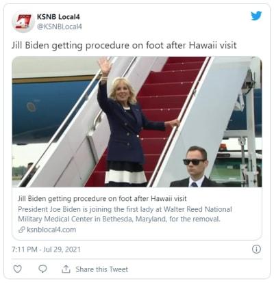 Jill Biden será atendida médicamente para extraerle un objeto del pie