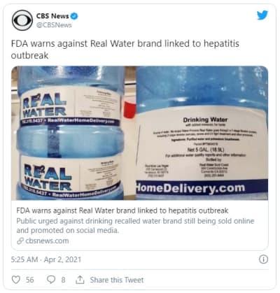 Bottled water recalled, presumed to have caused hepatitis cases