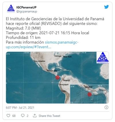 Sismo de magnitud 6.8 sacude Panamá y recomiendan alejarse de las costas