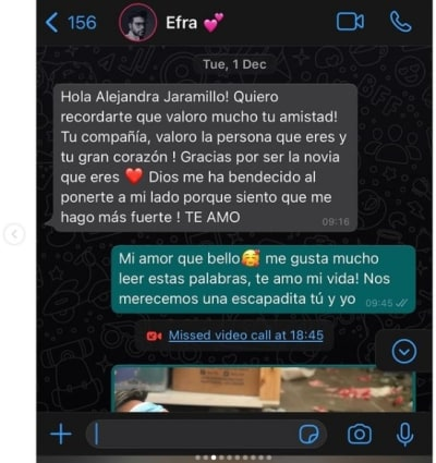 Novia Efraín Ruales mensajes, Alejandra Jaramillo 3