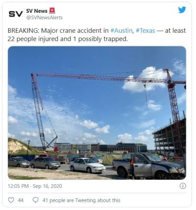 Texas: Dos grúas de construcción chocan y dejan al menos 22 heridos