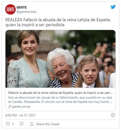 Reina Letizia de luto por la muerte de su abuela paterna