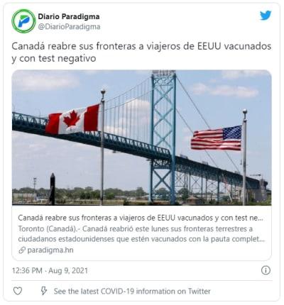 Canadá reabre sus fronteras para viajeros de EEUU vacunados contra Covid-19