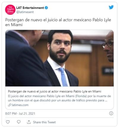 Postergan nuevamente el juicio al actor mexicano Pablo Lyle en Miami