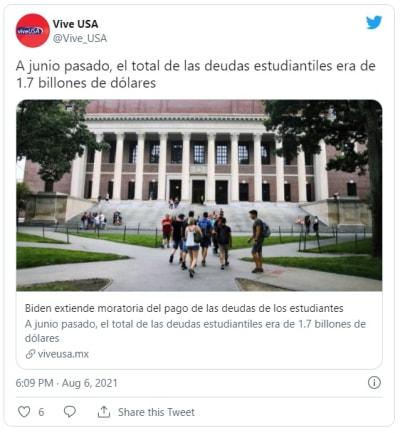 Gobierno de Biden extiende hasta enero 2022 la pausa en pagos estudiantiles