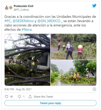 Confirmed first death in Mexico after the passage of Hurricane Nora
