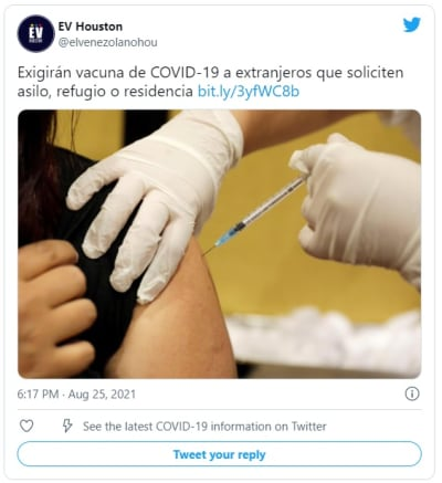 The US will require applicants for permanent residence to be vaccinated against covid-19