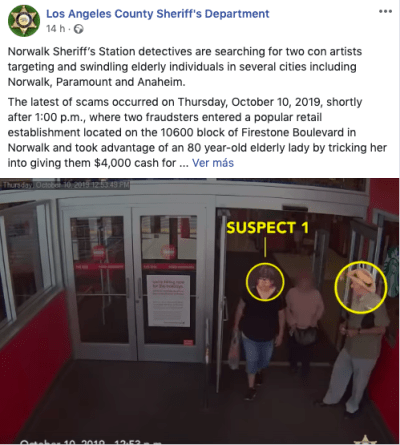 """California. Pareja de hispanos estafadores buscada por timar con falso """"ladrillo de oro"""""""