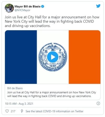 Pedirán prueba de vacunación para entrar a bares, restaurantes y gimnasios en Nueva York