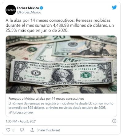 Suben las remesas en México un 22,44 % este primer semestre de 2021