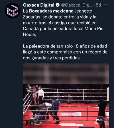La investigación ya está muy avanzada; Se investiga la muerte de la boxeadora mexicana Jeanette Zacarías