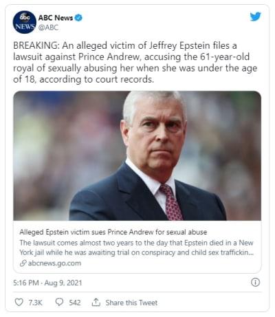 Supuesta víctima de Epstein denuncia al príncipe Andrés de Inglaterra
