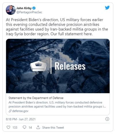 Estados Unidos bombardea a milicias apoyadas por Irán en Siria e Irak