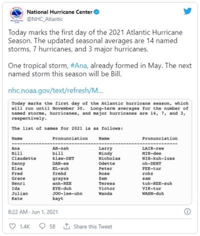 Meteorólogos pronostican formación de sistema de baja presión en el Atlántico