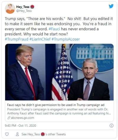 Anthony Fauci dice que la campaña de Trump usó sus comentarios sin su permiso