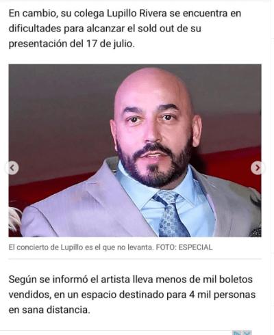 """Se toman """"medidas desesperadas"""" para llenar el concierto de Lupillo Rivera"""