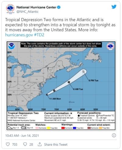 Se forma la segunda depresión tropical del año en el Atlántico