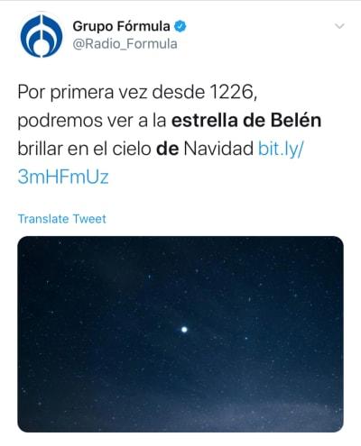 Podremos ver estrella de Belén