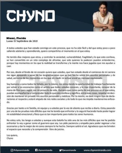 """""""Estoy saliendo poco a poco de esto""""; Chyno Miranda manda contundente mensaje a través de redes sociales"""