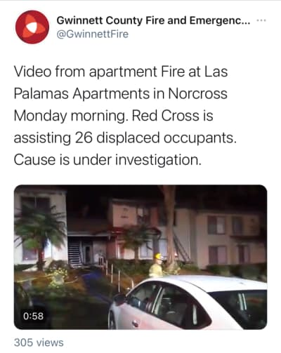 Incendio complejo apartamentos Norcross