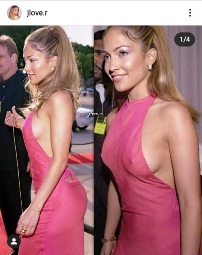 El vestido transparente y sin brasier que usó JLo y dejó ver todo