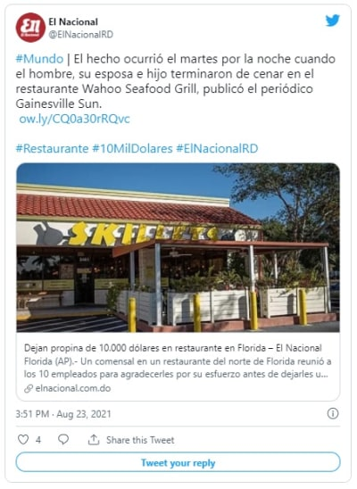 Florida restaurant customer pays $ 144 and tips 10,000