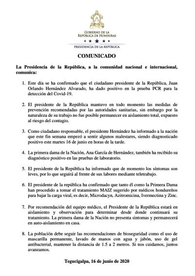 Presidente de Honduras coronavirus: Mandatario y su esposa contagiados