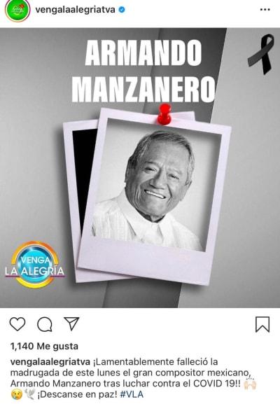 Muere Armando Manzanero tras perder la lucha contra el coronavirus