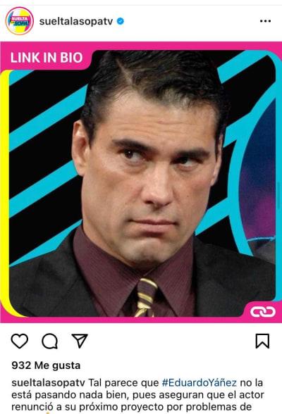 Eduardo Yáñez problemas telenovela