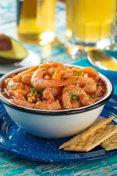 four snacks with shrimp