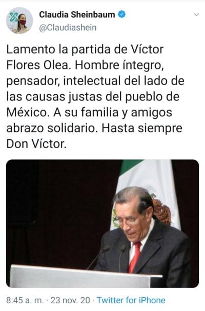 Tras la muerte de su hermana, AMLO está nuevamente de luto Andrés Manuel López Obrador Víctor Flores Olea
