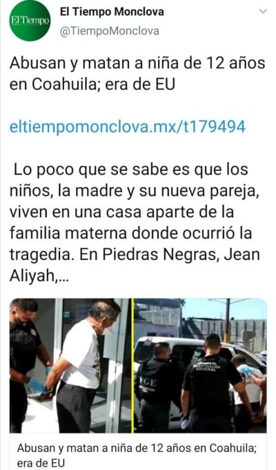 Niña asesinada México