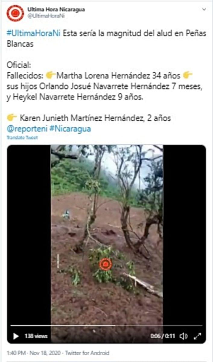 Iota deja 16 muertos en Nicaragua, entre ellos, madre y 3 hijos (VIDEOS)