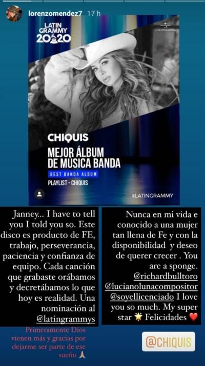 Lorenzo Méndez le manda mensaje a Chiquis Rivera tras nominación al Grammy Latino
