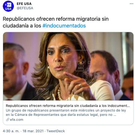 Reforma migratoria indocumentados sin ciudadanía es ofrecida por republicanos