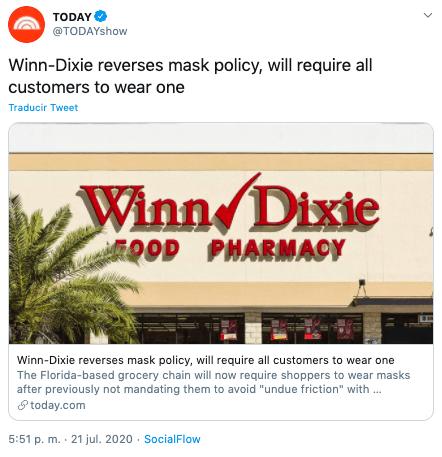Walmart exige mascarillas a sus clientes e incentiva otras tiendas a exigir su uso
