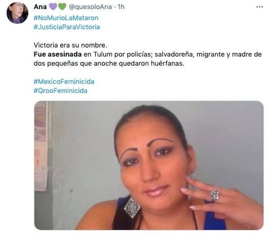 Victoria Salazar Arriaza woman died subjected to police Tulum Quintana Roo 4