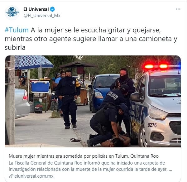 Victoria Salazar Arriaza woman died subjected to police Tulum Quintana Roo