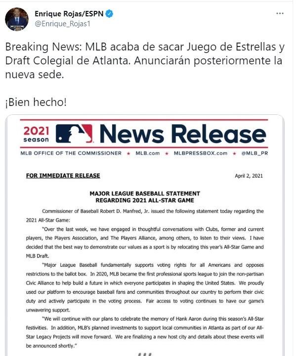 MLB Juego de estrellas Atlanta ley restringe voto 3