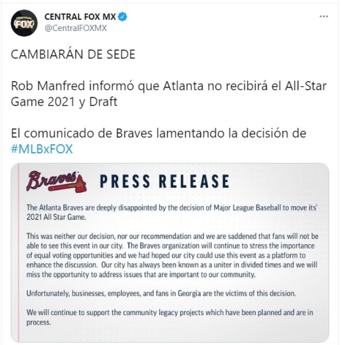 MLB Juego de estrellas Atlanta ley restringe voto 2