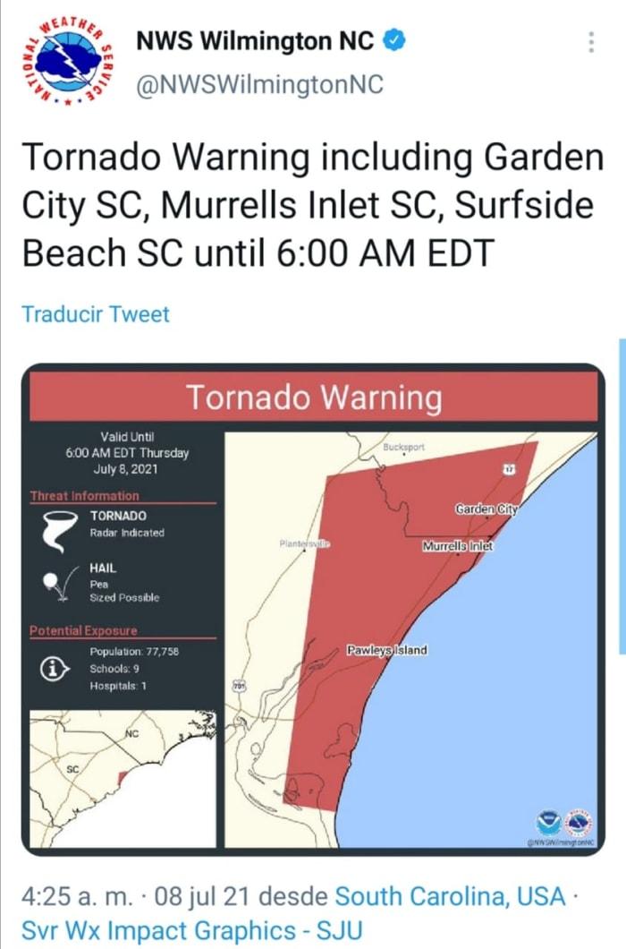 Alerta por tornado